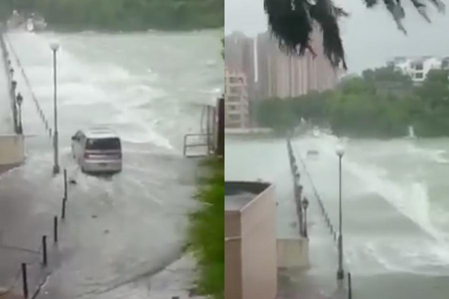 屯門黃金海岸接駁龍珠島的通道被海水完全淹沒,車輛要冒險穿越「水道」,才能脫險。(青山酒飯Facebook專頁)