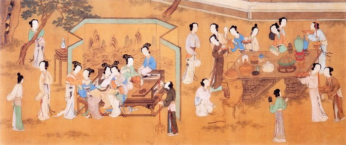 七夕拜月、乞巧尋良緣,中國文化上下二千年中華女兒們共同的心願。(明‧仇英《乞巧圖》,台北故宮博物院藏)