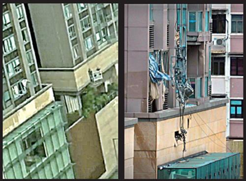 紅磡豪宅昇御門,有吊船懷疑斷纜在強風中亂飛,撞毀其中三個單位的窗戶。(啱Channel fb片段截圖、網絡圖片)