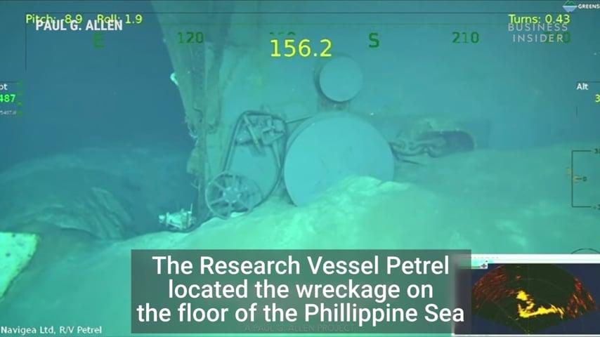 8月23日,媒體曝光了美國海軍「印第安納波利斯號」重型巡洋艦殘骸的片段。(視像擷圖)