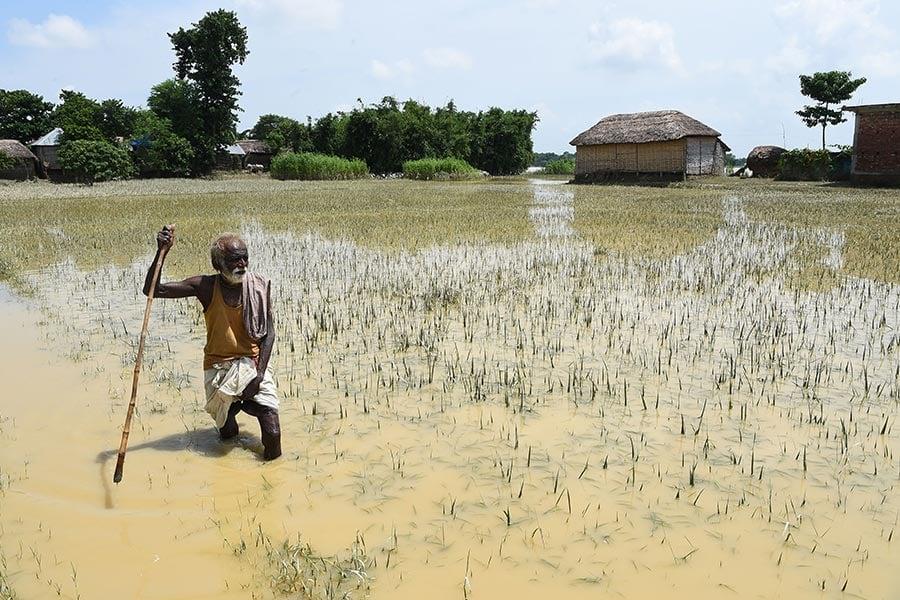 南亞地區的印度,尼泊爾和孟加拉國近日來遭遇洪水襲擊,造成800多人死亡,超過2,400萬人受災。(PRAKASH MATHEMA/AFP/Getty Images)