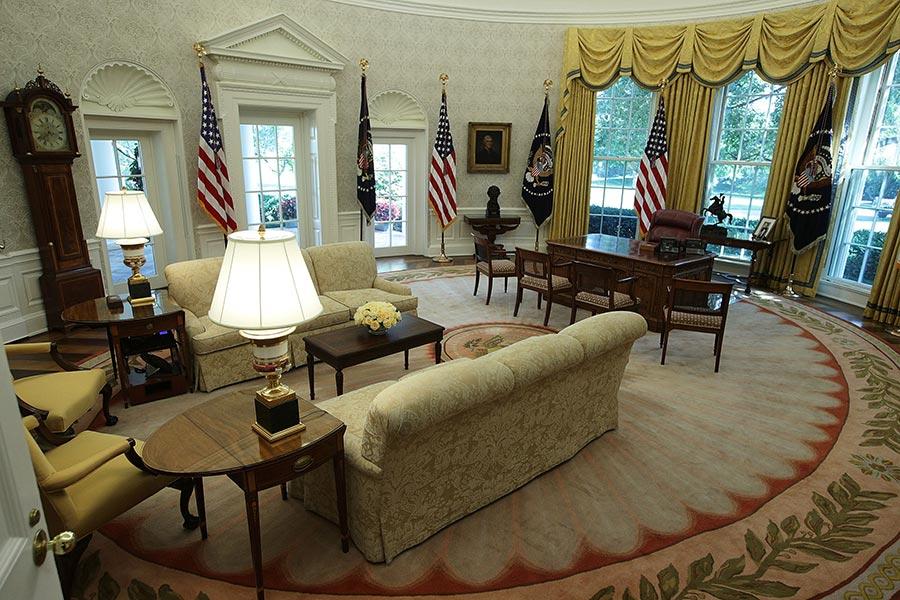 8月22日,白宮特朗普總統的橢圓形辦公室裝飾後的照片。(Alex Wong/Getty Images)