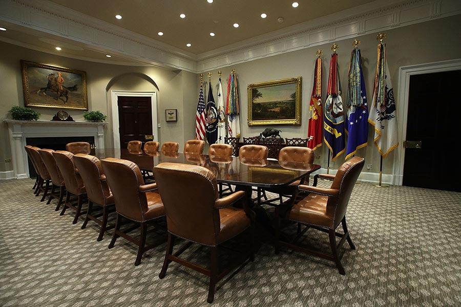 8月22日,白宮羅斯福屋裝修後的照片。(Alex Wong/Getty Images)