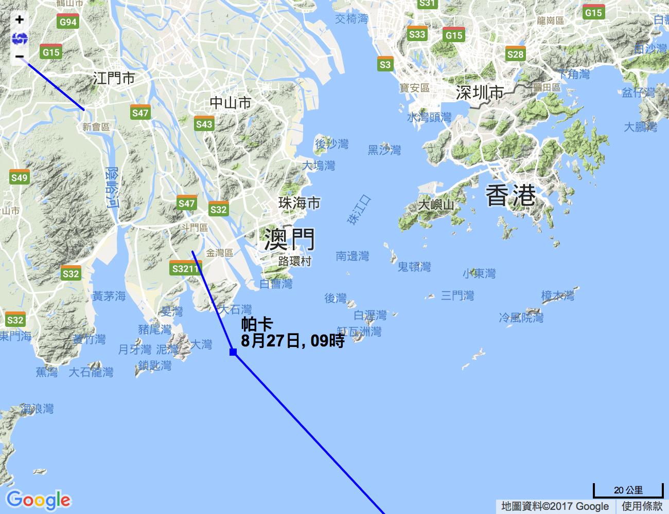據香港天文台在上午九時發佈的熱帶氣旋預測路徑顯示,強烈熱帶風暴「帕卡」將於鄰近澳門的珠海地區登陸,與數天前強颱風「天鴿」登陸的地點相若。(香港天文台)