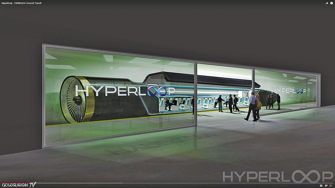 伊隆馬斯克設想的超級高鐵(Hyperloop),時速可以達到700哩以上。(影片截圖)