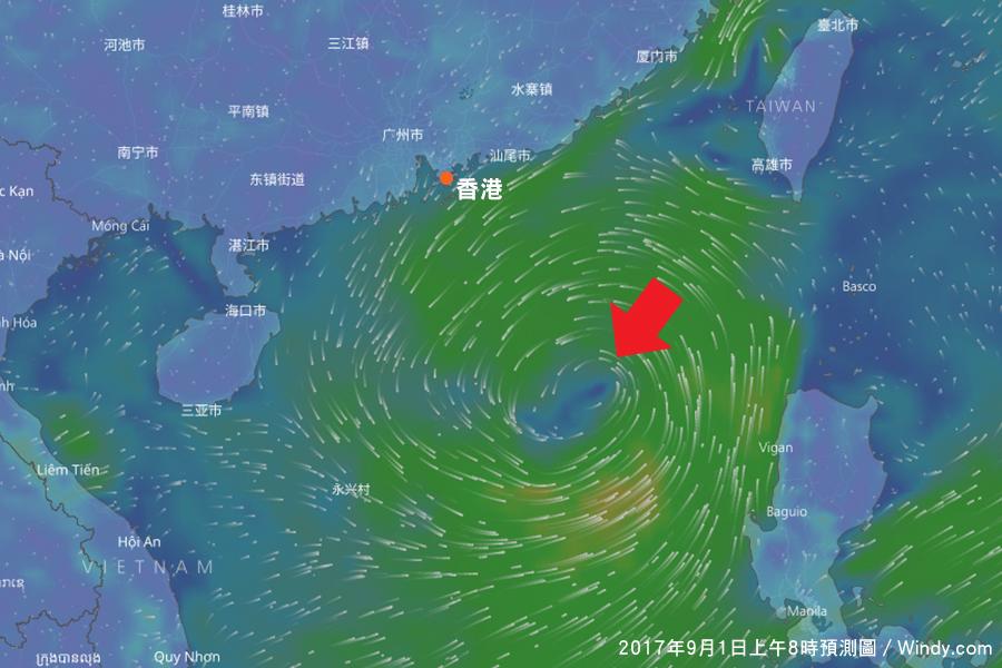 台灣氣象專家吳德榮表示,據歐洲中期預報中心(ECMWF)模型模擬顯示,南海本周中期有機會生成颱風。圖為Windy.com提供ECMWF模型模擬周五(9月1日)上午8時的氣象圖預測,顯示南海有一熱帶氣旋趨向廣東。(Windy.com)