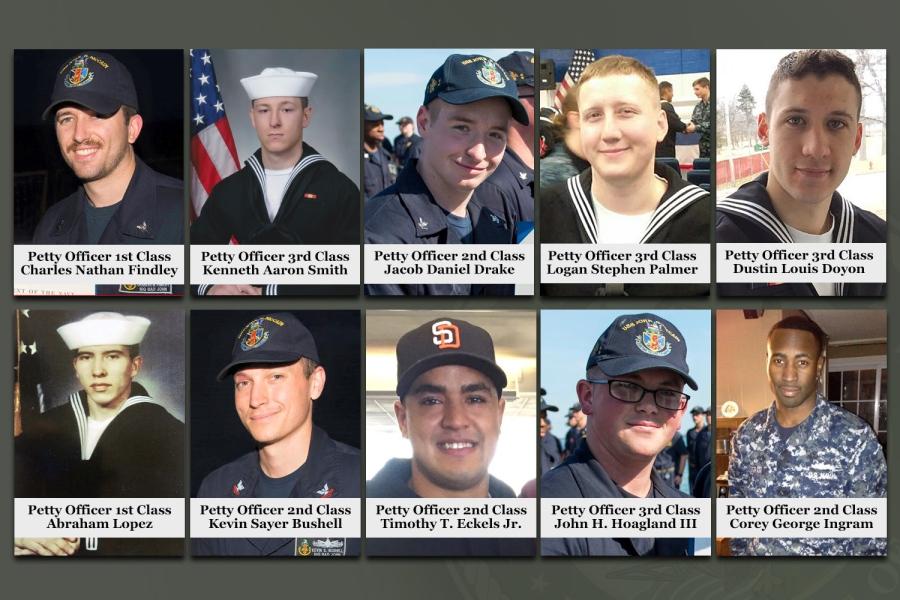 美國海軍8月28日表示,已經全部尋回驅逐艦約翰麥凱恩號(USS John S. McCain)撞船後失蹤的10名水手的遺體,並確認了身份。(U.S. Navy)