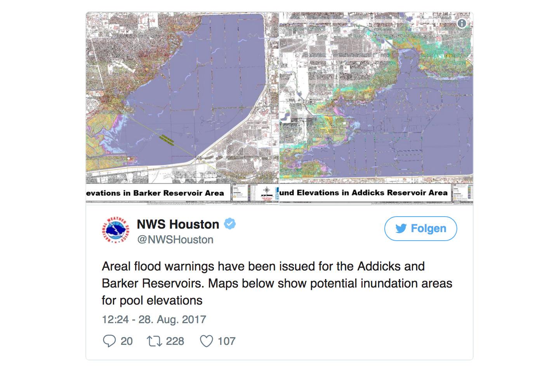 巴克水庫和阿迪克水庫周邊需要撤離的地區。(NWS)