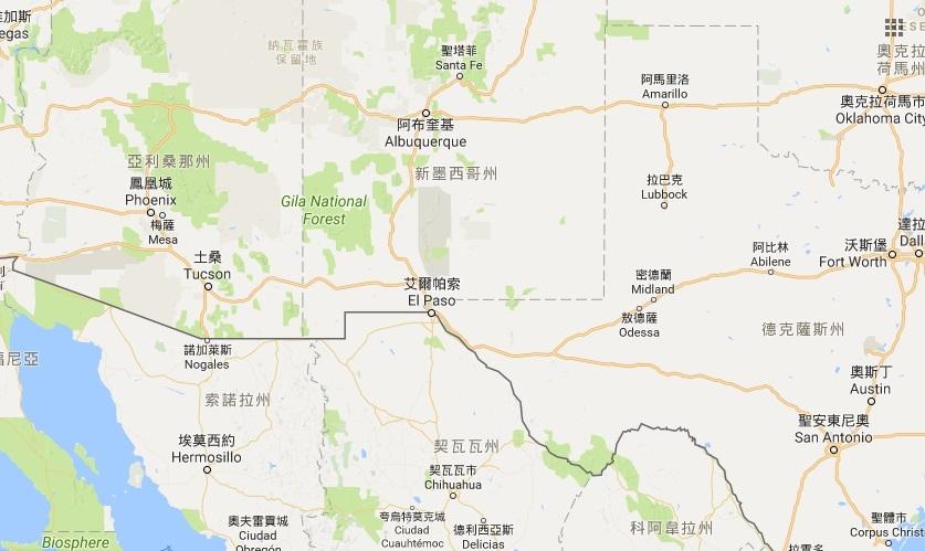 美國新墨西哥州警方表示,8月28日凌晨一輛小型客貨車在羅茲堡附近為閃避野兔失控翻覆,車上5人1死4傷,車上全是台灣人。(Google地圖)