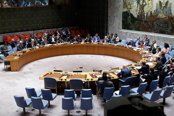 聯合國安理會於當地時間周二(29日)在紐約總部就北韓最新導彈試射召開緊急會議,全體成員國一致通過譴責北韓射彈的主席聲明。(KENA BETANCUR/AFP/Getty Images)