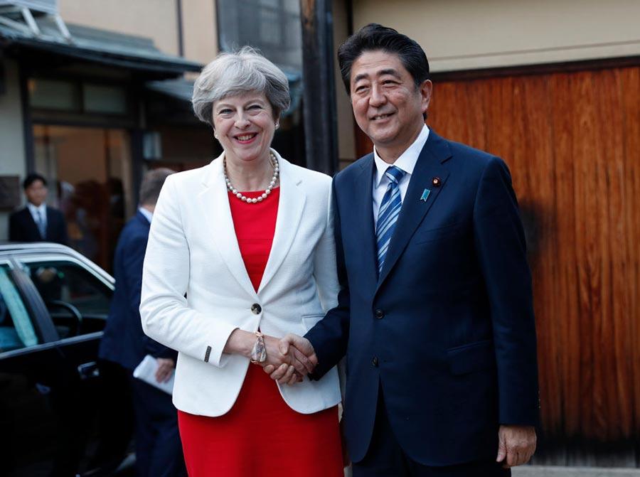 周三首相文翠珊抵達日本,與安倍晉三會晤。(KIM KYUNG-HOON/AFP/Getty Images)
