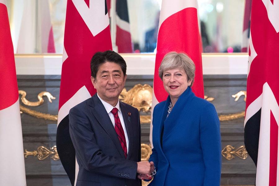 8月31日,英國首相文翠珊出席了日本的國家安全委員會會議。(Carl Court/Getty Images)