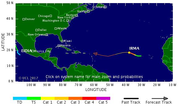 美國氣象專家8月31日表示,強烈颶風哈維前腳才剛走,颶風艾瑪(Irma)接踵而至,在東大西洋已增強為第3級暴風雨。(tropicalstormrisk.com)