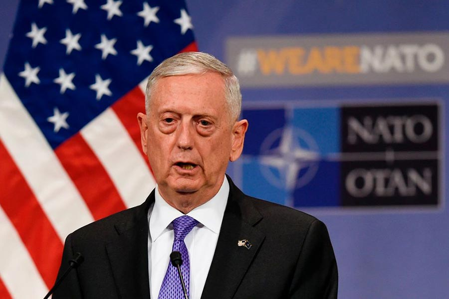 星期四(8月31日)美國國防部長馬蒂斯說,他已經簽署了向阿富汗增調美軍部隊的命令。(JOHN THYS/AFP/Getty Images)