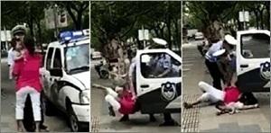 上海警察絆摔抱娃婦 無視幼童重摔遭民轟