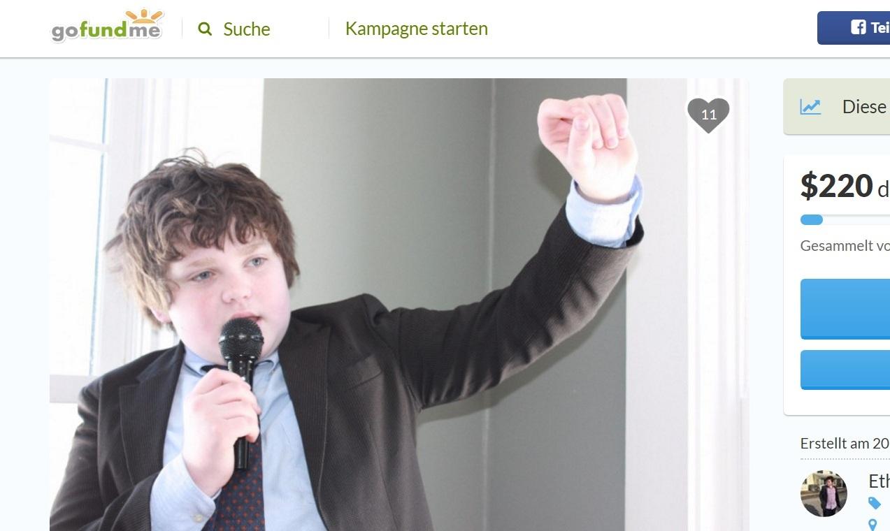 13歲男孩桑博恩(Ethan Sonneborn)在公眾集資平台GoFundMe上為競選佛蒙特州州長籌集資金。(GoFundMe)
