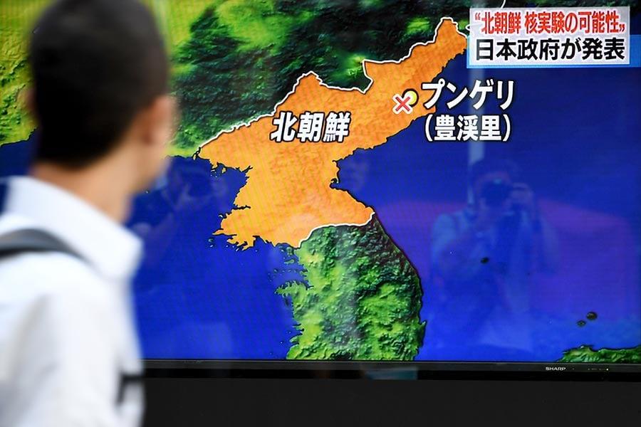 美國地質調查局在本港時間今日上午11時30分,探測到北韓發生一次黎克特制5.6級地震(後將震級修正為6.3級)。韓聯社稱,可能是第六次核試。(TOSHIFUMI KITAMURA/AFP/Getty Images)