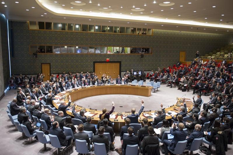 北韓再一次核試,引起包括中俄韓北歐歐盟等的強烈譴責。圖為2016年3月2日,聯合國安全理事會15個成員國無異議通過新決議案。(AFP)