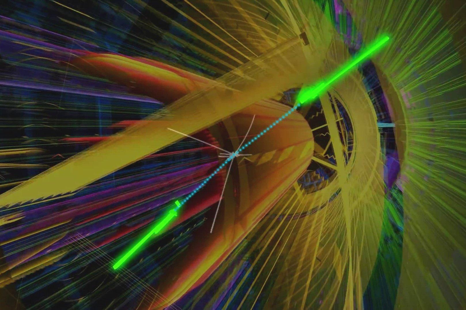 光子發生碰撞的模式圖。(ATLAS視像擷圖)
