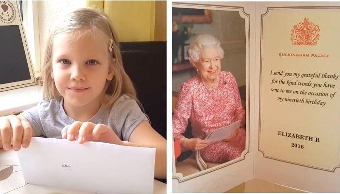 英國5歲女童辛普森(Lyndsay Simpson)想養天鵝當寵物,於是寫信給女皇徵求其許可。圖為女孩和女皇的回信。(視像擷圖/大紀元合成)