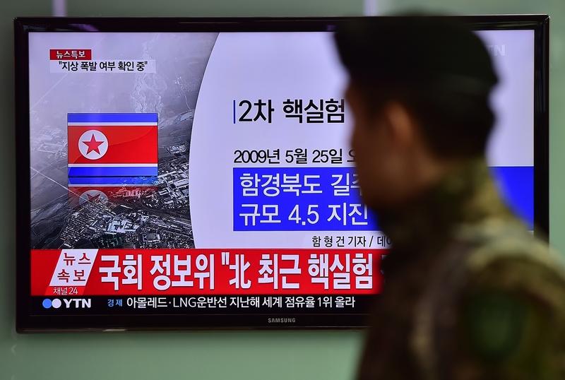 金磚峰會之際,北韓宣佈成功進行氫彈試驗,引起國際社會譴責。圖為去年1月6日,北韓宣佈進行了氫彈核試。(JUNG YEON-JE/AFP)