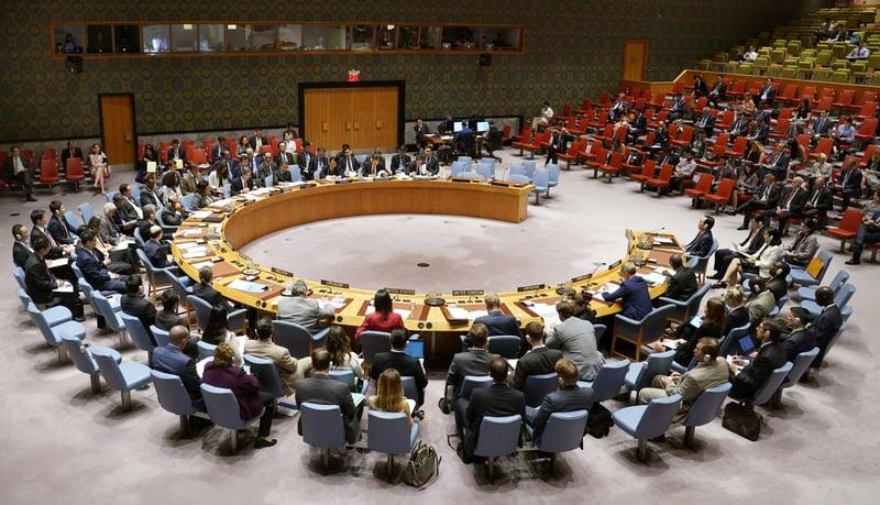 聯合國安理會周一(4日)召開緊急會議磋商對策,以應對北韓最新核試問題。(共同社提供)