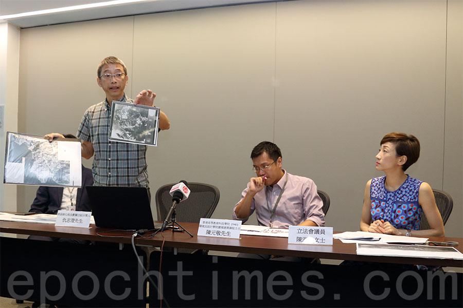 南區綠化地改劃關注組召集人仇志澄(左)。(蔡雯文/大紀元)