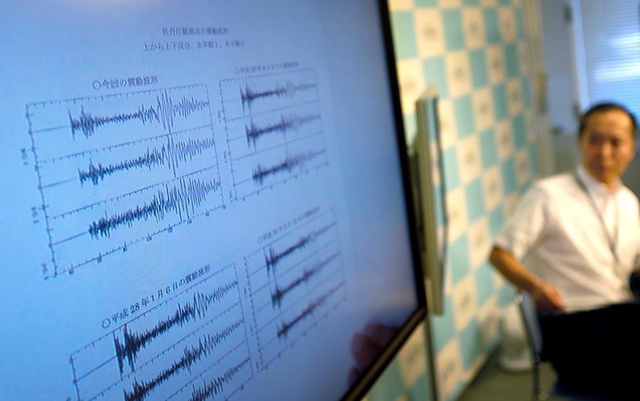2017年9月3日,北韓進行第六次核試驗,外界測到相當於6.3級地震。圖為日本氣象局偵測到的地震數據。(KAZUHIRO NOGI/AFP/Getty Images)