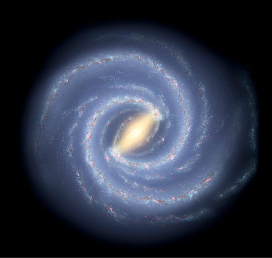 美國太空總署所拍攝的牛奶銀河系。(NASA-JPL-Caltech)