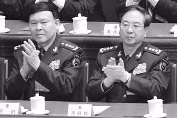 房峰輝(右)、張陽(左)落選軍隊十九大代表。(網絡圖片)