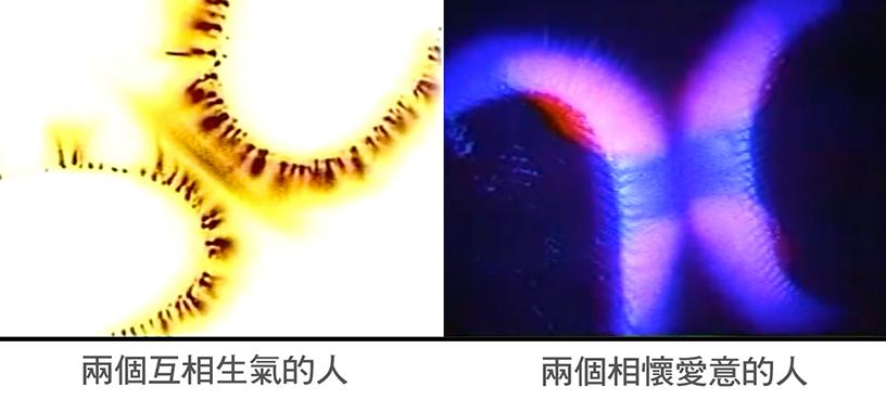 克瑞安照相術拍攝下兩對心懷不同想法的人,指尖能量場的變化。(視頻截圖)