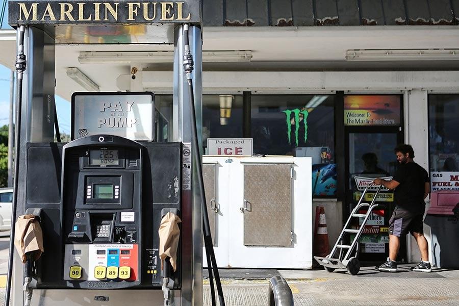 9月7日位於佛州ISLAMORADA的一家加油站,已經售完當天的汽油。(Marc Serota/Getty Images)