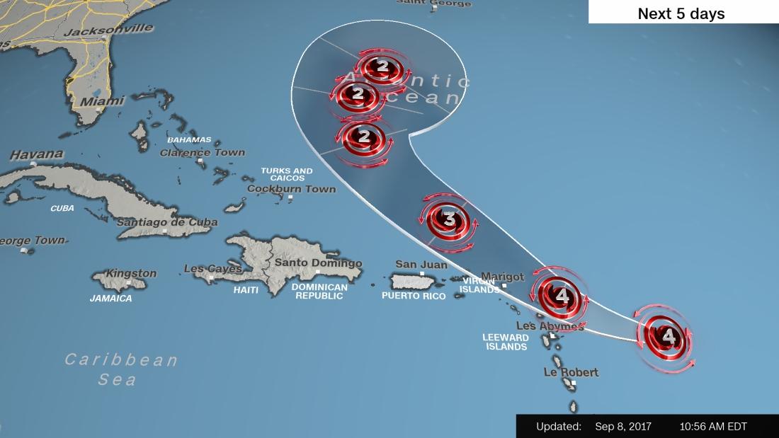颶風荷西在周五(8日)增強為4級,料將襲擊加勒比海部份島嶼後轉入大西洋。(美國國家颶風中心)