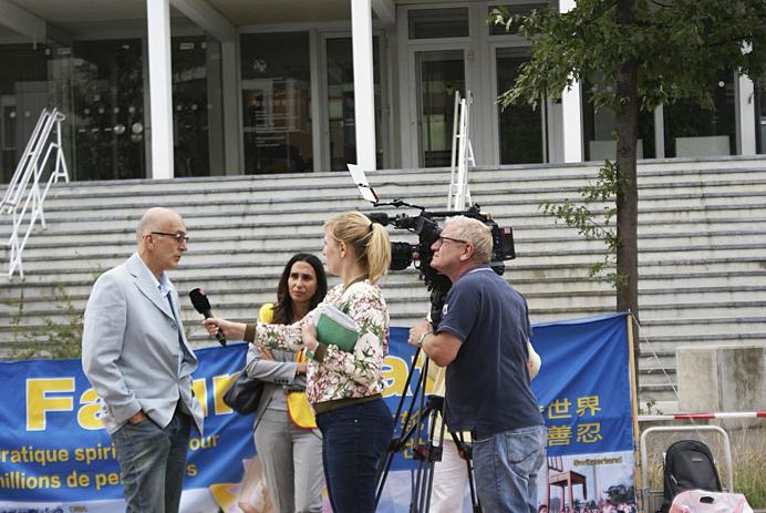 日內瓦州大議會議員Marc Falquet先生接受採訪。(李方明/大紀元)