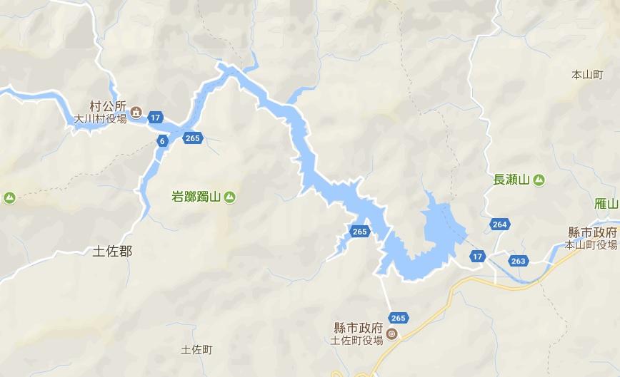 谷歌地圖上的吉野川和早明浦湖。(谷歌地圖)