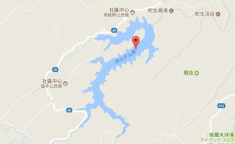 這是大分縣的芹川壩湖。(谷歌地圖)