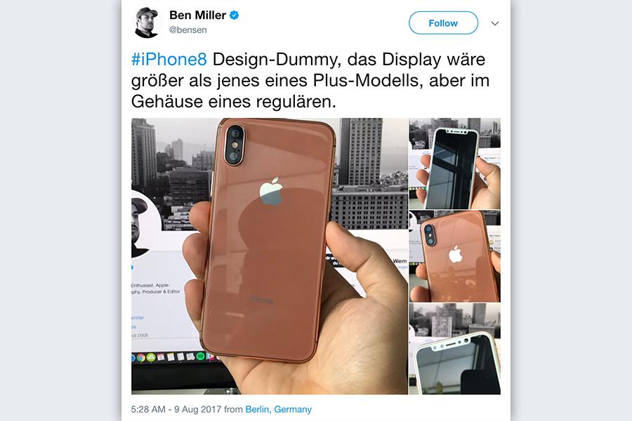 蘋果將於周二(9月12日)發佈新一代包括一款特別版的iPhone。圖為網上社群流傳的特別版iPhone設計。(twitter.com/bensen)