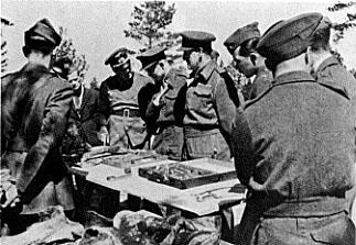 英國、加拿大和美國軍官(戰俘)被德國方面帶往慘案發掘現場參觀。(公有領域)