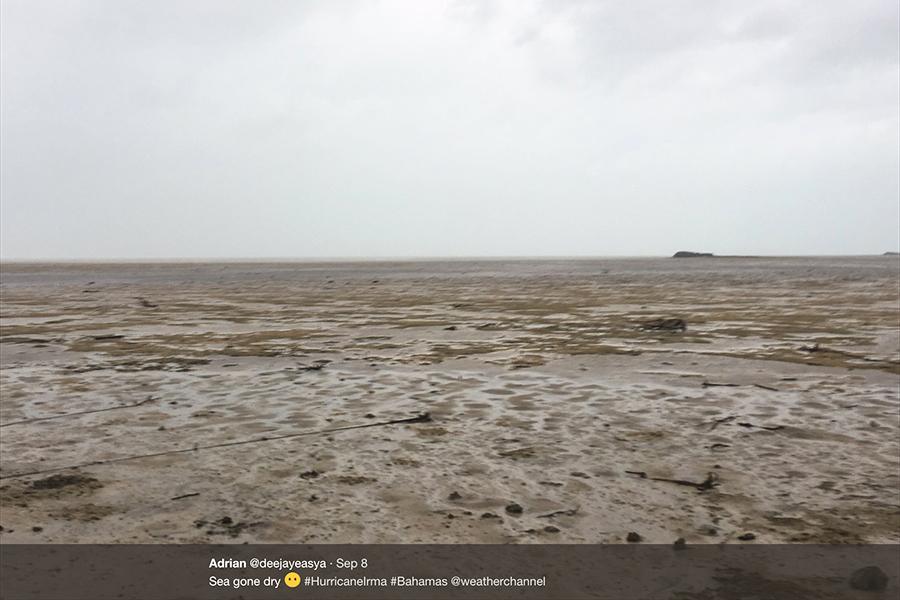 颶風艾爾瑪致巴哈馬海水消失 如末日景象