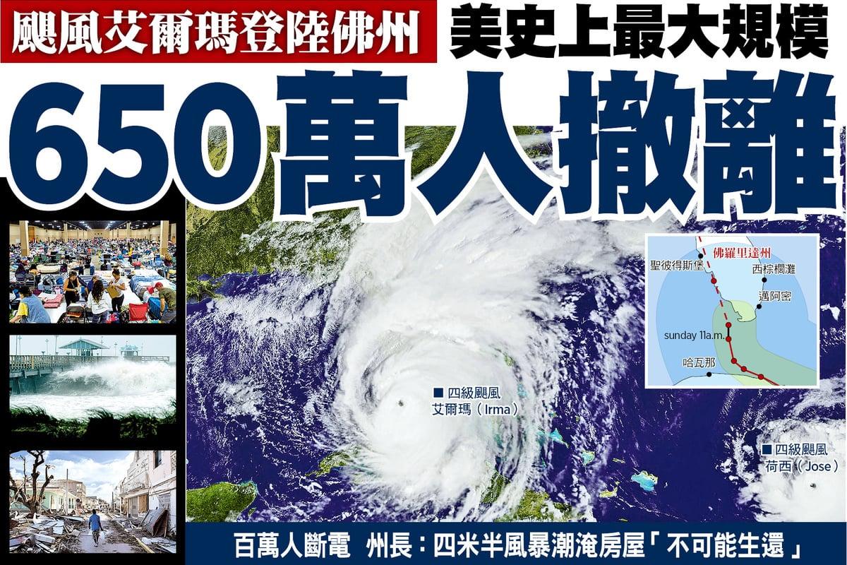 四級颶風艾爾瑪(Irma)登陸美國佛羅里達州之際,接踵而來且威力同達4級的颶風荷西(Jose)掠過波多黎各。(NASA/NOAA GOES Project)