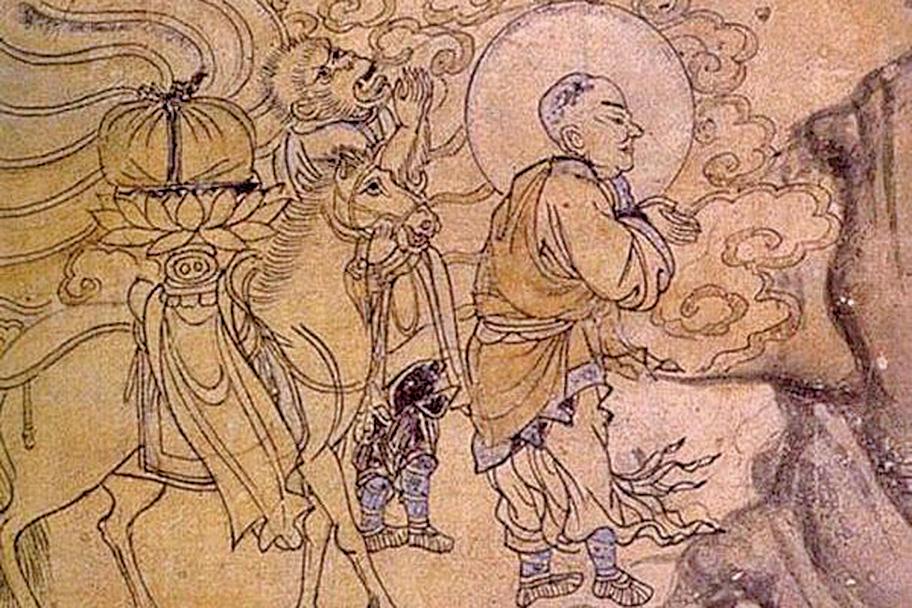 敦煌壁畫中的玄奘取經圖(公有領域)