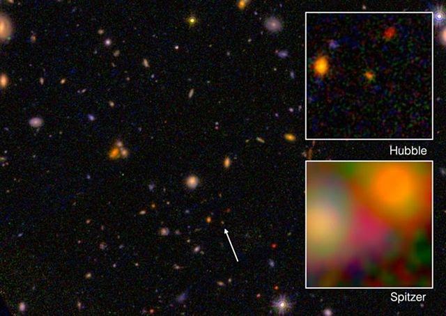 哈勃望遠鏡和斯皮策空間望遠鏡觀測到年齡為132億年的古老星系EGS8p7(也稱EGSY-2008532660星系)。(維基百科)