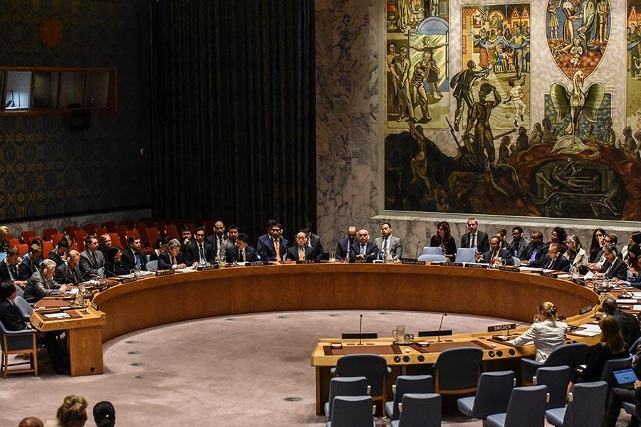 聯合國安理會周一(9月11日)準備投票制裁北韓,以懲罰它最新的核試。據說決議條款已經放鬆,但是不清楚中、俄是否將支持決議。(Stephanie Keith/Getty Images)
