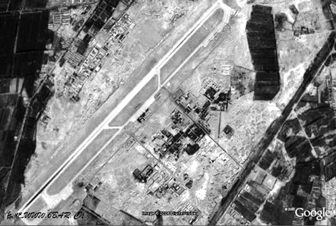 Google衛星地圖上所顯示的新疆巴音郭楞蒙古自治州境內的馬蘭軍事基地,這裏是中國重要的核子試驗基地。(網絡擷圖)
