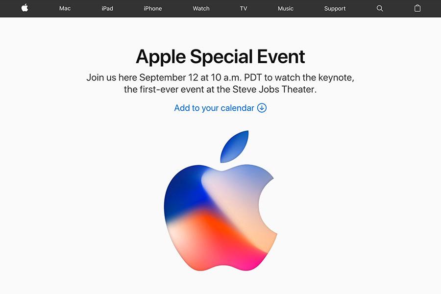 蘋果公司即將於本港時間13日凌晨(美國當地時間12日上午10時)舉行發佈會。(蘋果公司網頁)