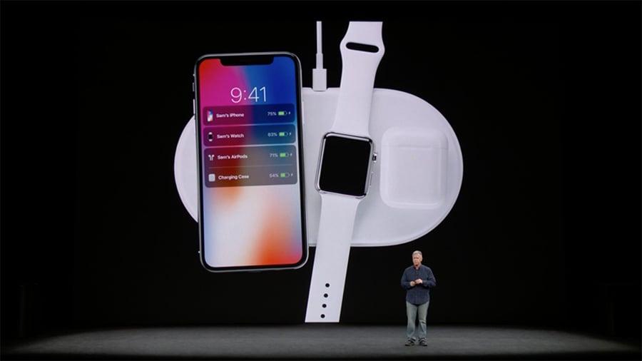 蘋果宣佈,iPhone 8系列和iPhone X將具備無線充電功能。(視像擷圖)
