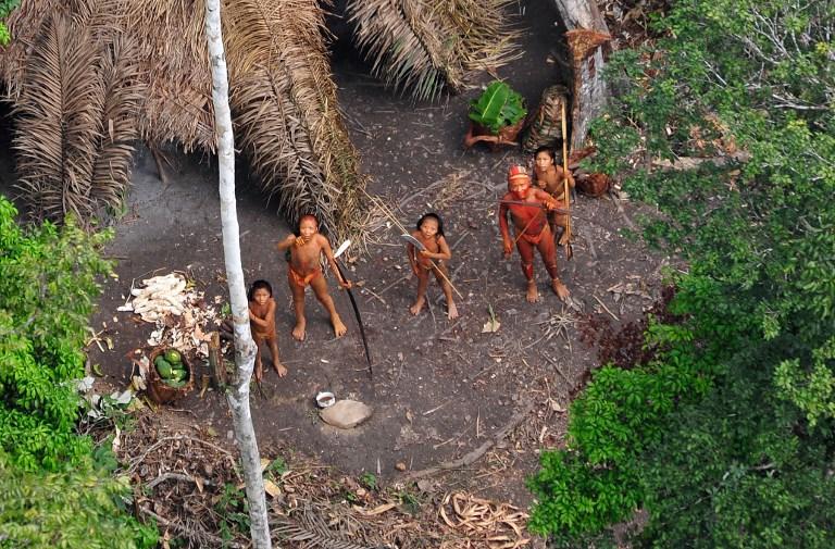 2011年1月31日巴西政府飛機發現的隱世部落。(AFP PHOTO / FUNAI/Survival / Gleison Miranda)
