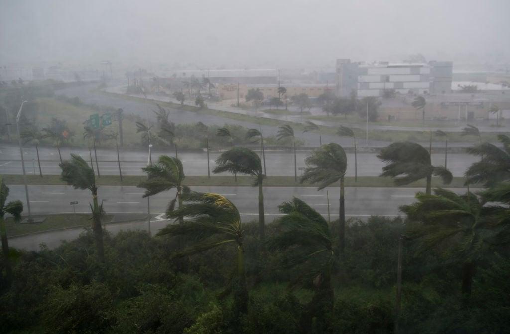 9月10日艾爾瑪(Irma)颶風給佛羅里達州邁阿密帶來狂風暴雨。艾爾瑪在9月10日恢復為4級風暴的強度,直撲佛羅里達州。(SAUL LOEB/AFP/Getty Images)