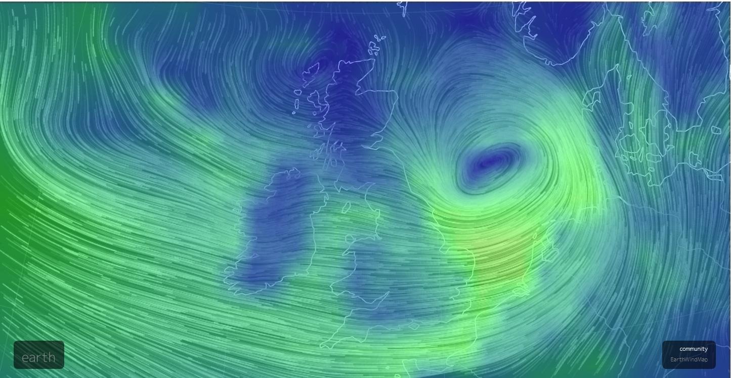 英國氣象局電腦製作的圖像顯示橫掃大西洋和海峽的強風。(earth.nullschool.net)