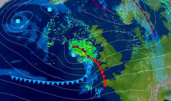 英國氣象局(Met Office)發佈艾琳風暴路徑。(英國氣象局)